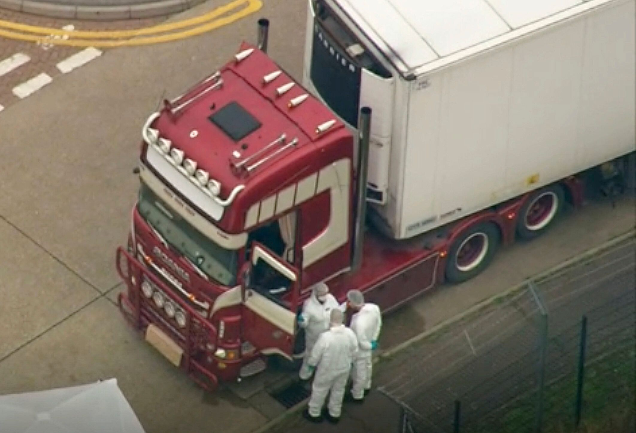 An aerial view as police forensic officers attend the scene in Grays, Essex