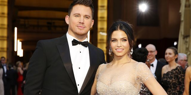 Channing Tatum and Jenna Dewan arrive on the red carpet at the 86th Academy Awards in Hollywood, Calif., March 2, 2014.