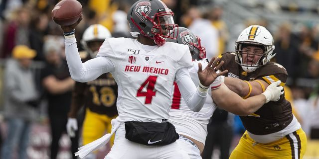New Mexico quarterback Sheriron Jones throws a pass against Wyoming during an NCAA college football game Saturday, Oct. 19, 2019, in Laramie, Wy.