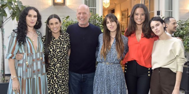 Rumer Willis, Demi Moore, Bruce Willis, Scout Willis, Emma Heming Willis and Tallulah Willis attend Demi Moore's 'Inside Out' book launch party on Sept. 23 in Los Angeles.