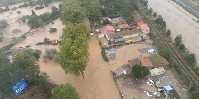 This Oct. 23, 2019 image made by Twitter user @SDIS34 shows a flooded area in the southern France. France's Interior ministry says three people have been killed in torrential rains that flooded towns and villages in southern France this week.
