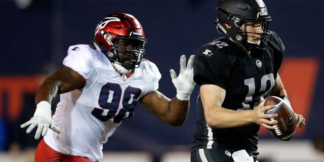 Corey Vereen #98 of the Memphis Express chases quarterback Luis Perez #12 of the Birmingham Iron during the third quarter of their Alliance of American Football game at Liberty Bowl Memorial Stadium on March 24, 2019 in Memphis, Tennessee. The Memphis Express won 31-25 in overtime.
