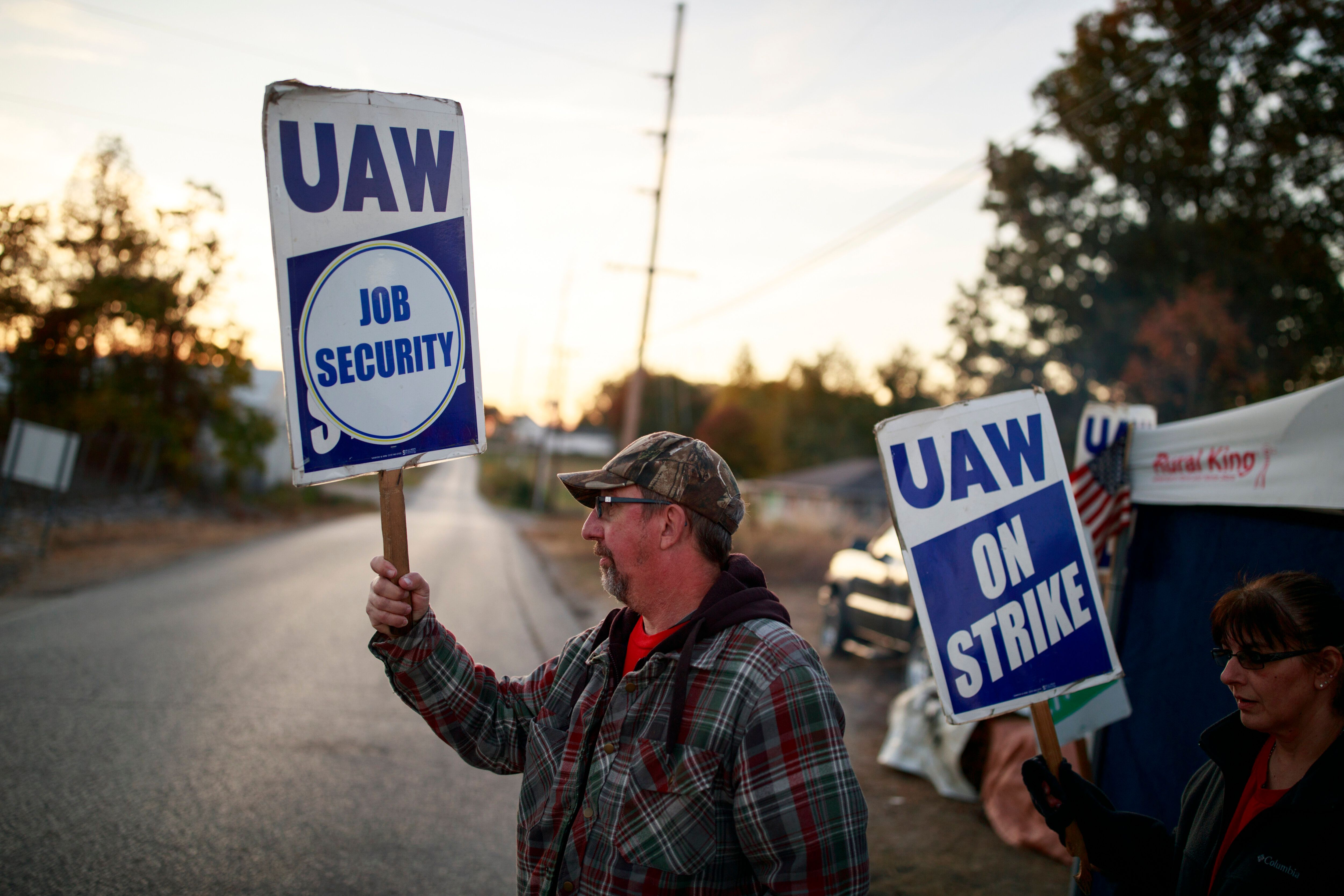 United Auto Workers members picket outside the Bedford Casting Operations plant in Bedford, Indiana, on Oct. 18, 2019.