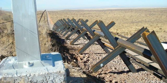 Vehicle barriers that have already been replaced with a 30-foot wall along many miles of the border (Courtesy CBP)