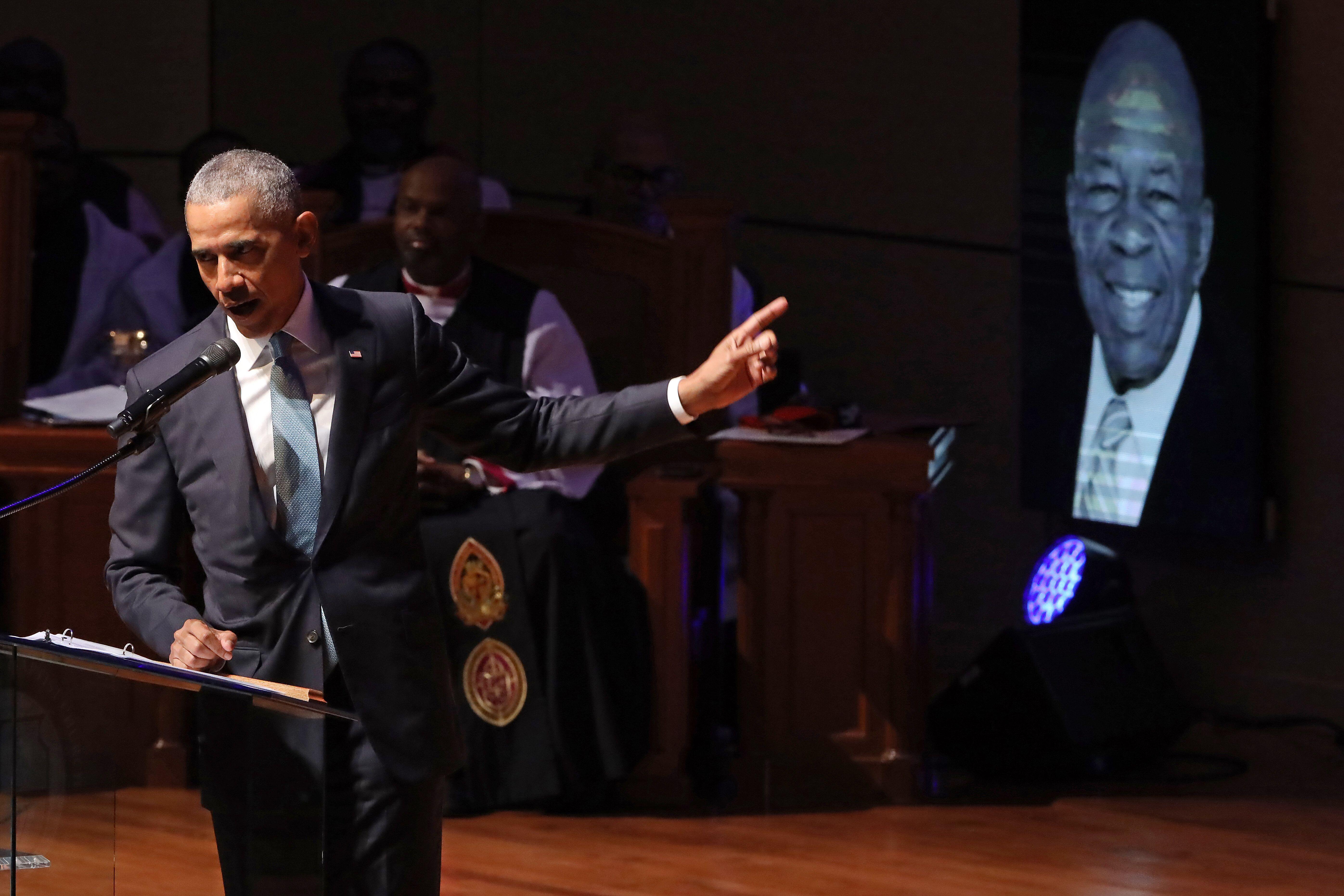 Former President Barack Obama delivers remarks during the funeral service for Rep. Elijah Cummings (D-MD) at New Psalmist Bap