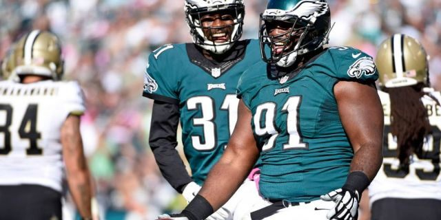 Philadelphia Eagles defensive end Fletcher Cox (91) celebrates after recovering a fumble against the New Orleans Saints at Lincoln Financial Field. (Eric Hartline/USA TODAY Sports)