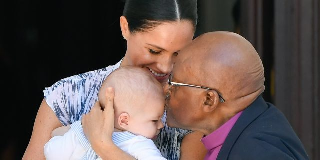 Meghan, Duchess of Sussex, and their baby son Archie Mountbatten-Windsor met Archbishop Desmond Tutu in Cape Town, South Africa. (Photo by Pool/Samir Hussein/WireImage)