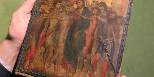 The 13th-century painting by Italian master Cimabue, seen in a photo last month.