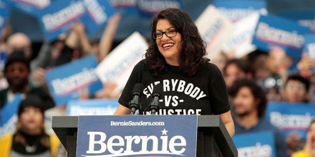 US Representative Rashida Tlaib attends a campaign rally for Democratic 2020 U.S. presidential candidate Senator Bernie Sanders in Detroit, Michigan. (REUTERS/Rebecca Cook)