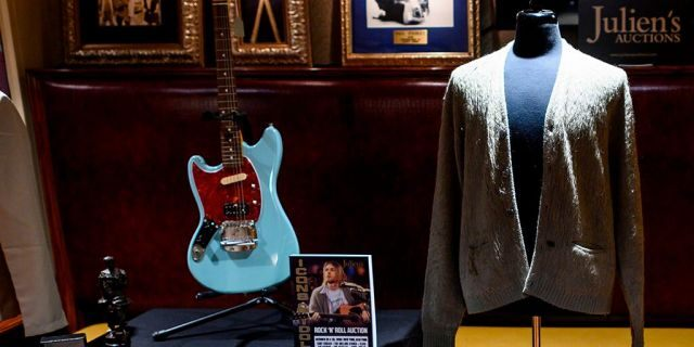 Kurt Cobain's cardigans from Nirvana's 1993 MTV Unplugged performance was on display at the Hard Rock Cafe in New York City ahead of the auction of Julien's Auctions on October 21, 2019 in New York City.