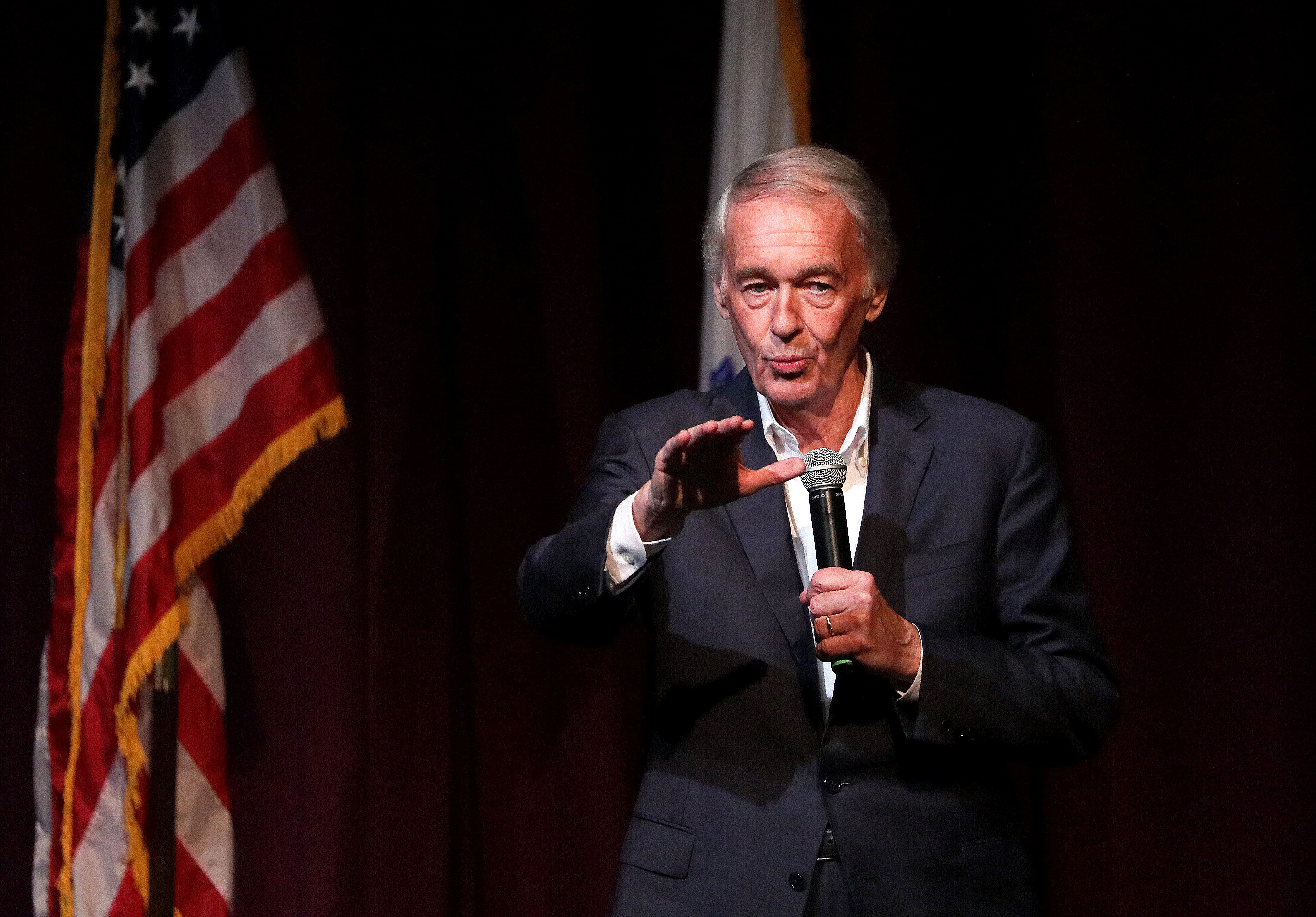 Sen. Ed Markey speaks during a community town hall discussion on the Green New Deal Resolution and solution to fighting clima