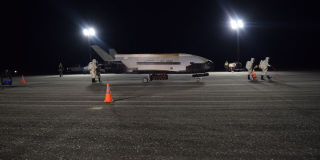 The secretive space plane completed more than two years in orbit. (Air Force photo)