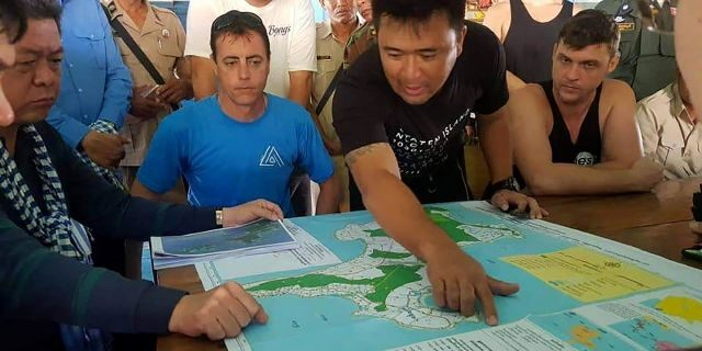 As many as 150 searchers have been looking for Bambridge on land and sea, checking hotels and guest houses on the island. (Sihanoukville province Authority Police via AP)