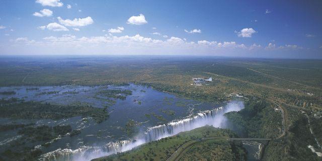 Aerial view of the Victoria Falls (UNESCO World Heritage List, 1989) on the Zambezi River, Zimbabwe.
