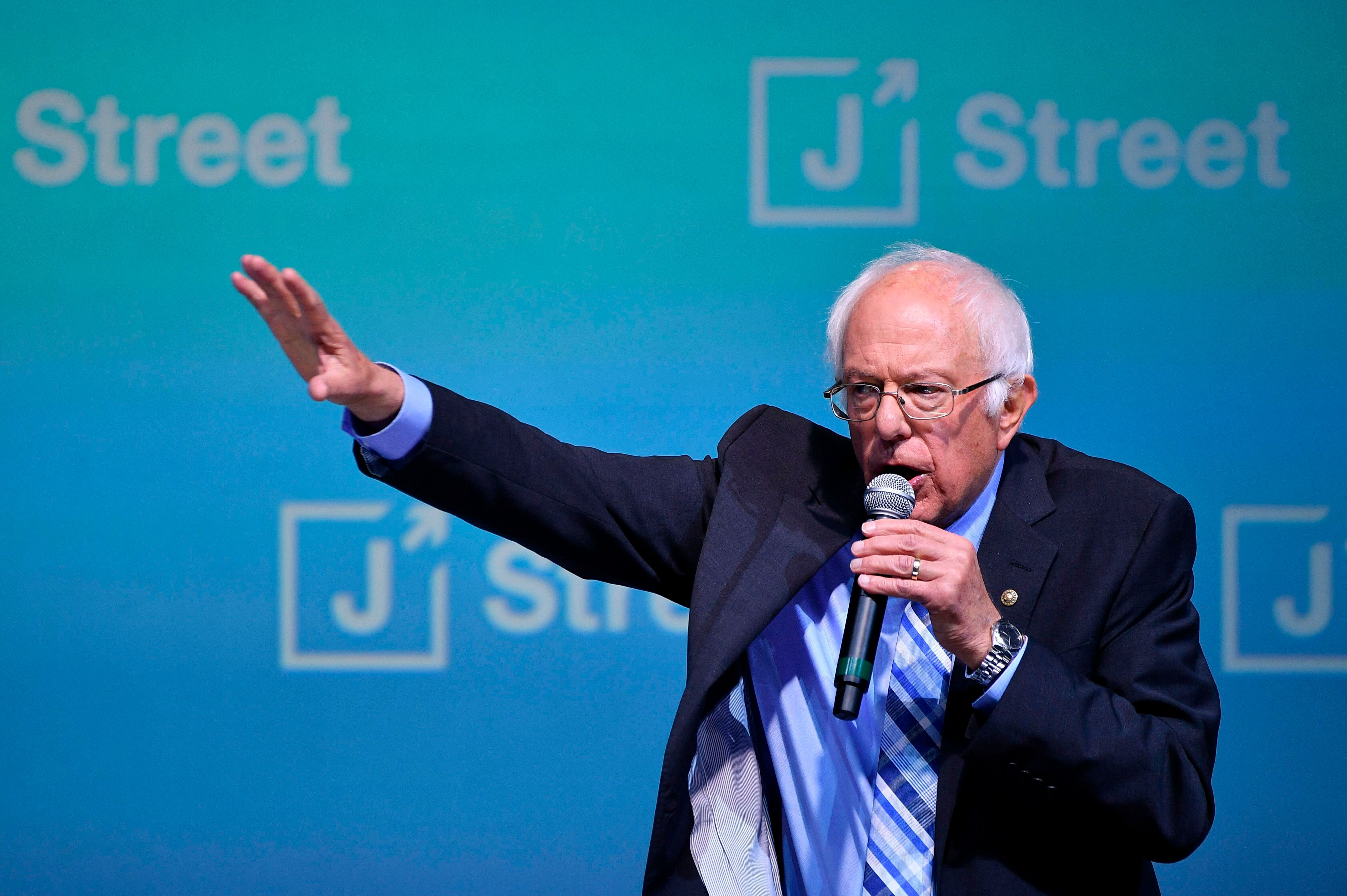 Sen. Bernie Sanders at the J Street National Conference in Washington, D.C., on Monday.