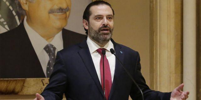 Lebanese Prime Minister Saad Hariri speaks during an address to the nation in Beirut, Lebanon, Tuesday, Oct. 29, 2019.