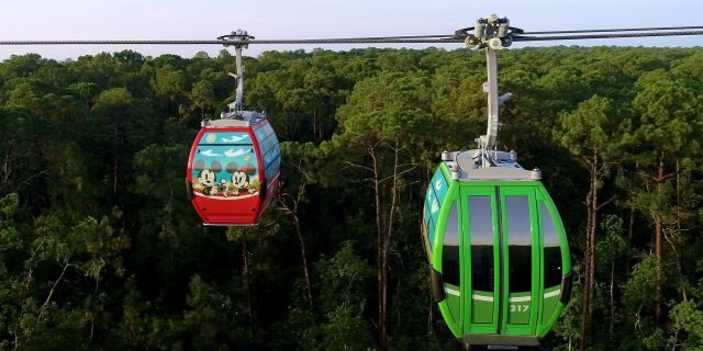 The Disney Skyliner transports guests between Epcot and Hollywood Studios, as well as three resort hotels, as of Sept. 29, 2019. A fourth hotel, opening in December, will also be connected via the Skyliner. (Disney)