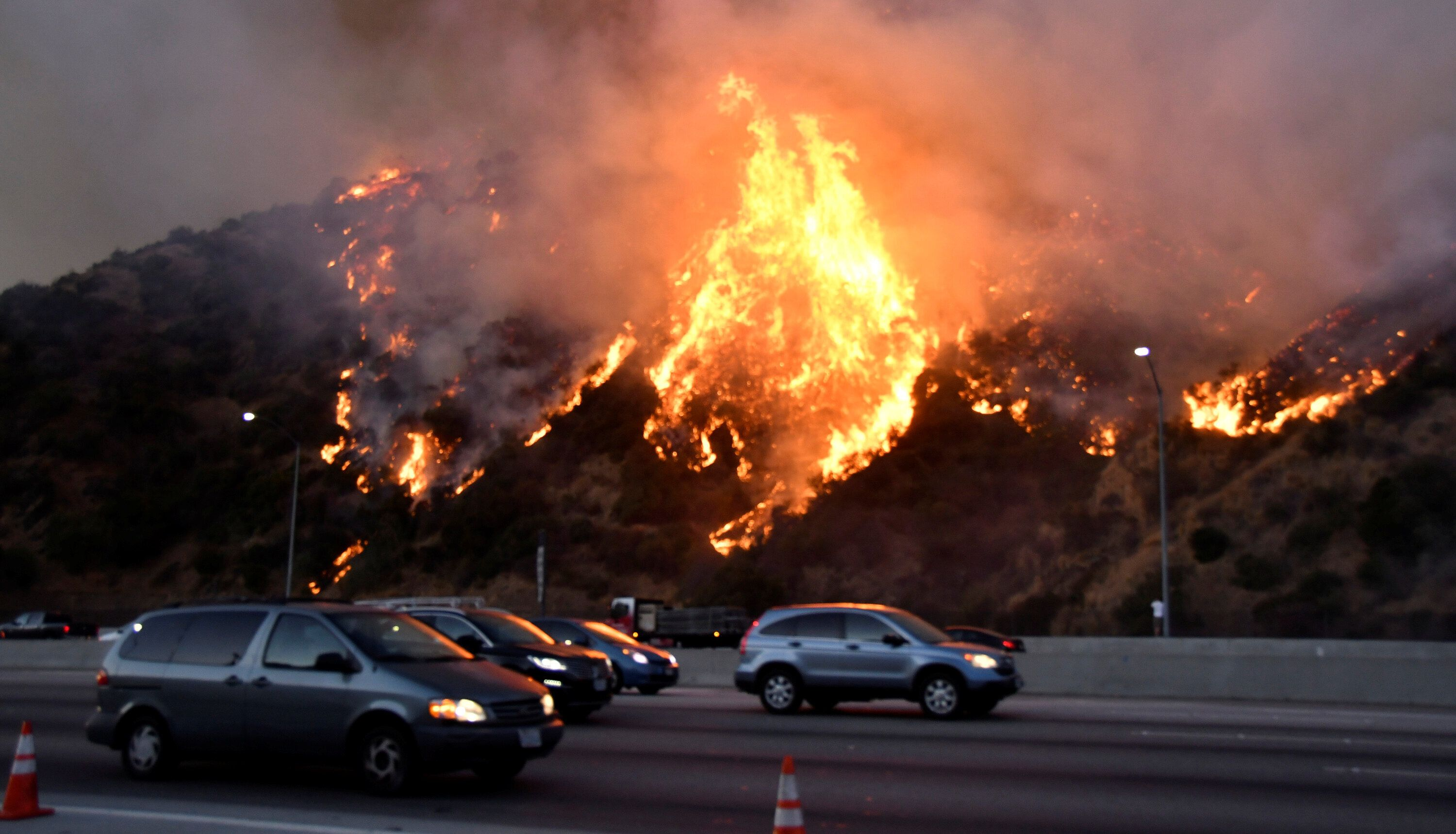 The Getty fire burns along Interstate 405 north of Los Angeles on Monday.