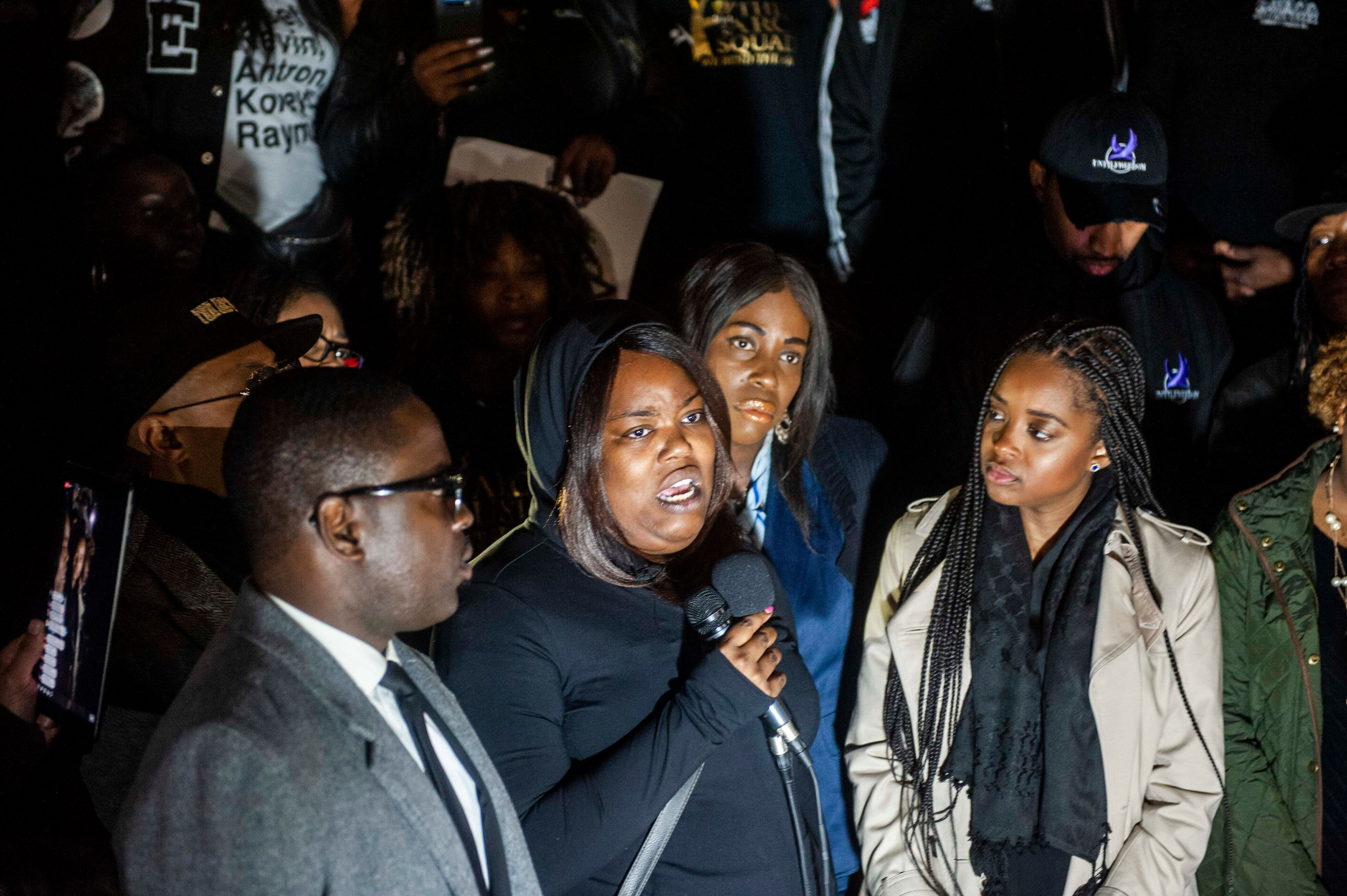 Ashley Carr speaks about her sister during the protest.
