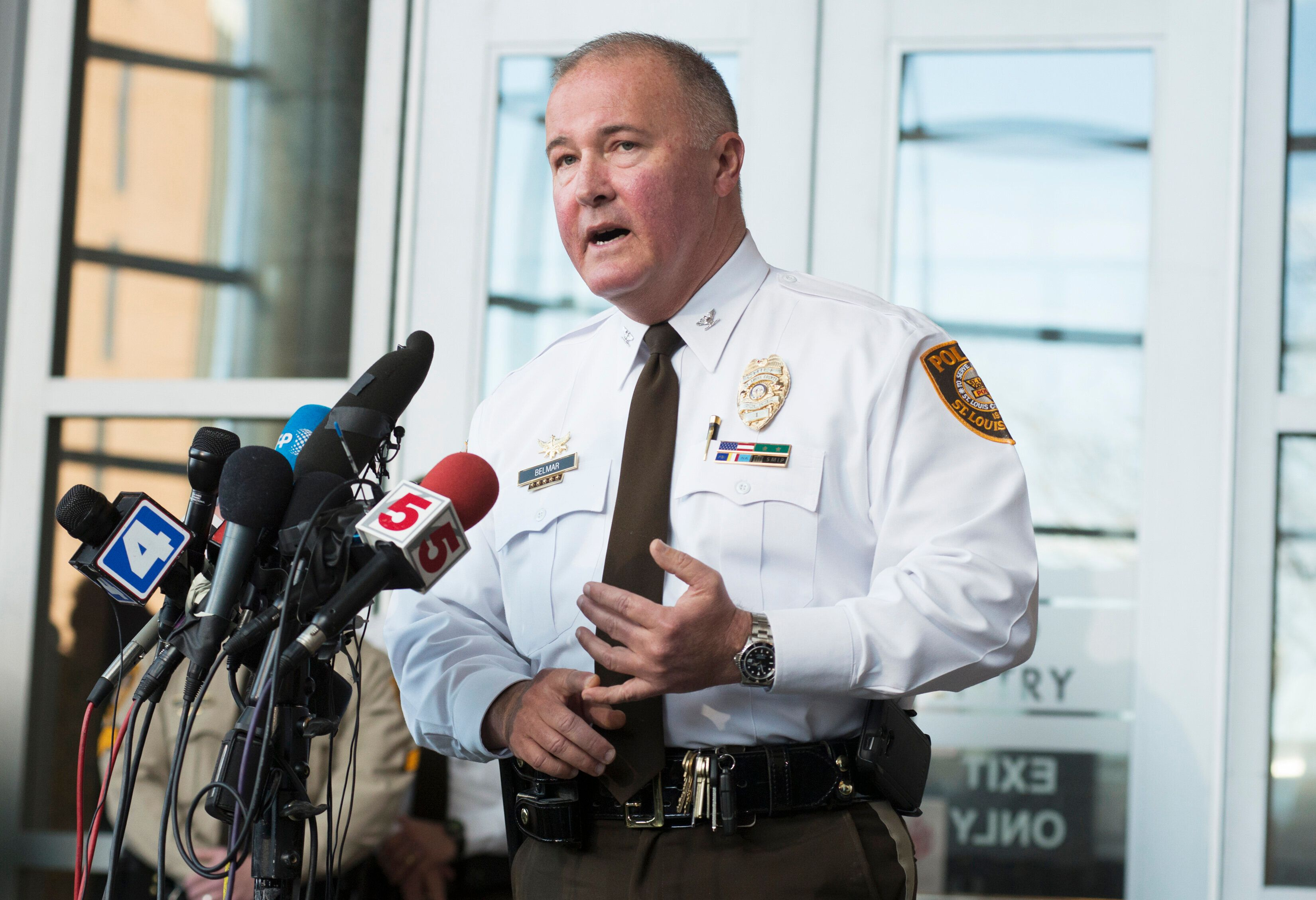 St. Louis County Police Chief Jon Belmar, seen in 2015, is facing calls to step down following allegations of homophobia with