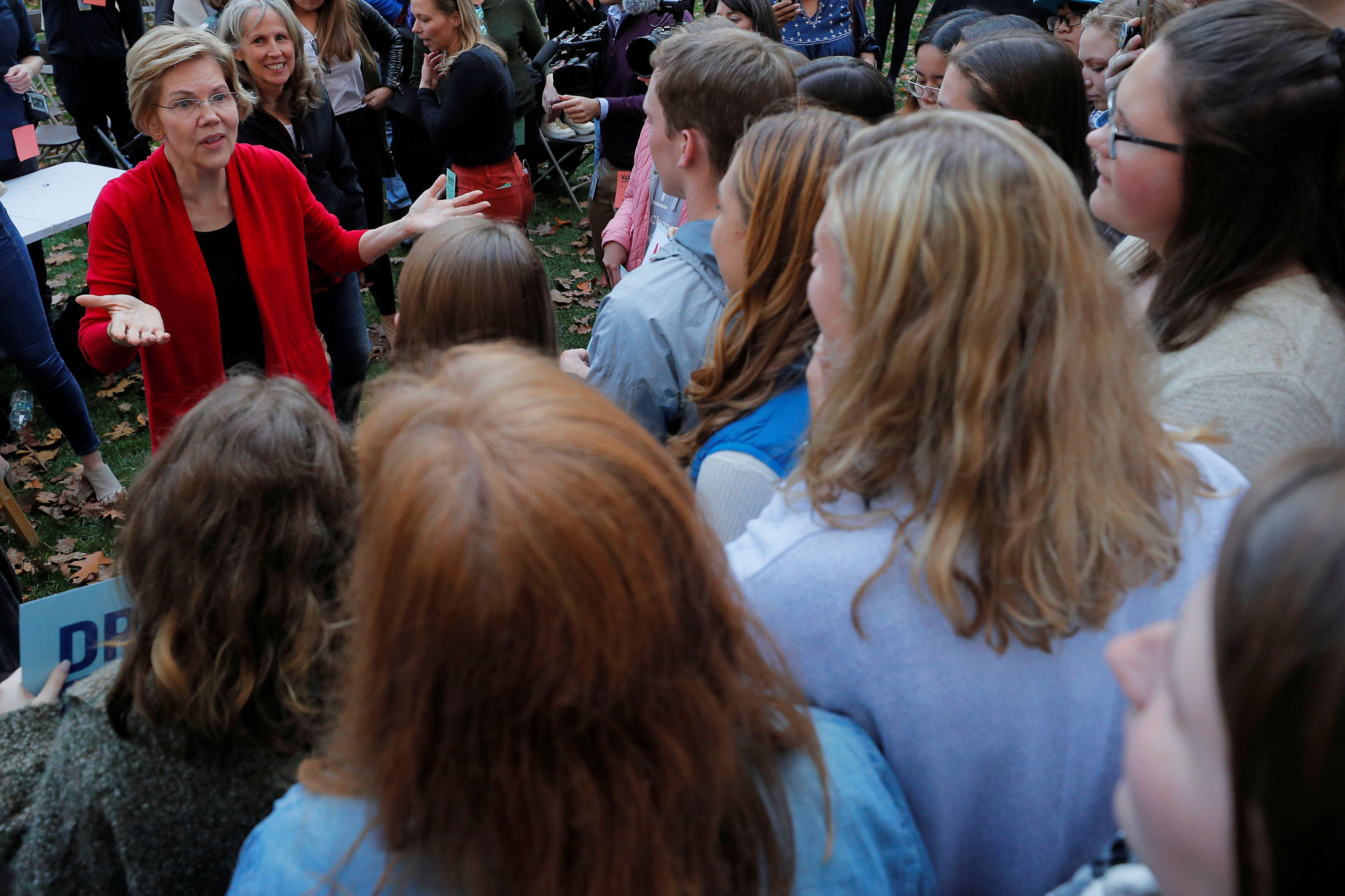 Democratic 2020 U.S. presidential candidate and Sen. Elizabeth Warren (D-Mass.) campaigns at Dartmouth College in Hanover, Ne