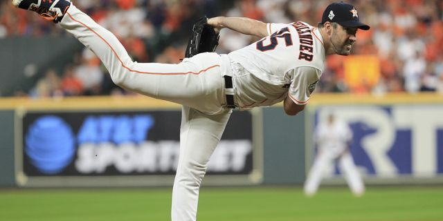 Houston Astros starting pitcher Justin Verlander throws against the Washington Nationals during the first inning of Game 6 of the baseball World Series Tuesday, Oct. 29, 2019, in Houston. (Associated Press)