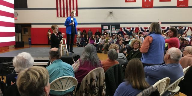Presidential candidate Elizabeth Warren taking a question from the audience at a town hall in Laconia, N.H., on Tuesday.