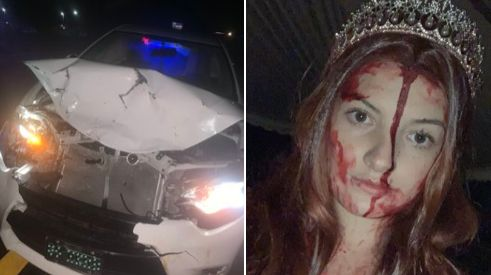 "Sidney Wolfe crashed her car while wearing a costume to promote ""Carrie The Musical."""