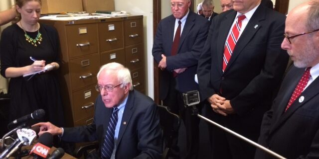 Democratic presidential candidate Sen. Bernie Sanders of Vermont files for the 2016 New Hampshire primary, at the State House in Concord, N.H., in November 2015