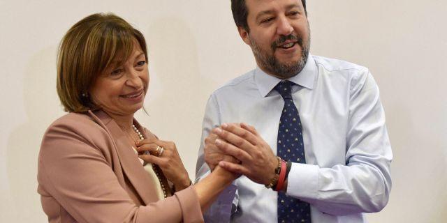 Centre-right coalition candidate for governor of Umbria Region Donatella Tesei celebrates her victory with secretary of League party Matteo Salvini in Perugia, Italy, Oct. 28, 2019. (Matteo Crocchioni/ANSA via AP)