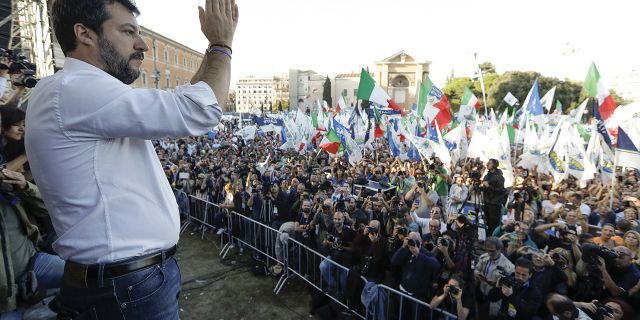 """The League leader Matteo Salvini addresses a rally in Rome, Saturday, Oct. 19, 2019. Thousands of protesters are gathering in Rome for a so-called """"Italian Pride"""" rally, which brings together the right-wing League of Salvini, the far-right Brothers of Italy of Giorgia Meloni and former premier Silvio Berlusconi's Forza Italia. (AP Photo/Andrew Medichini)"""