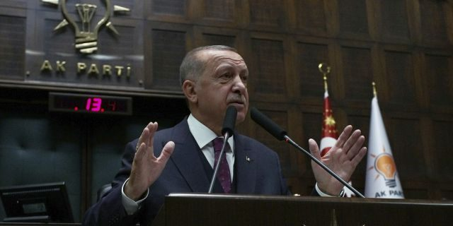 Turkish President Recep Tayyip Erdogan addresses his ruling party  on Wednesday. (AP Photo/Burhan Ozbilici)