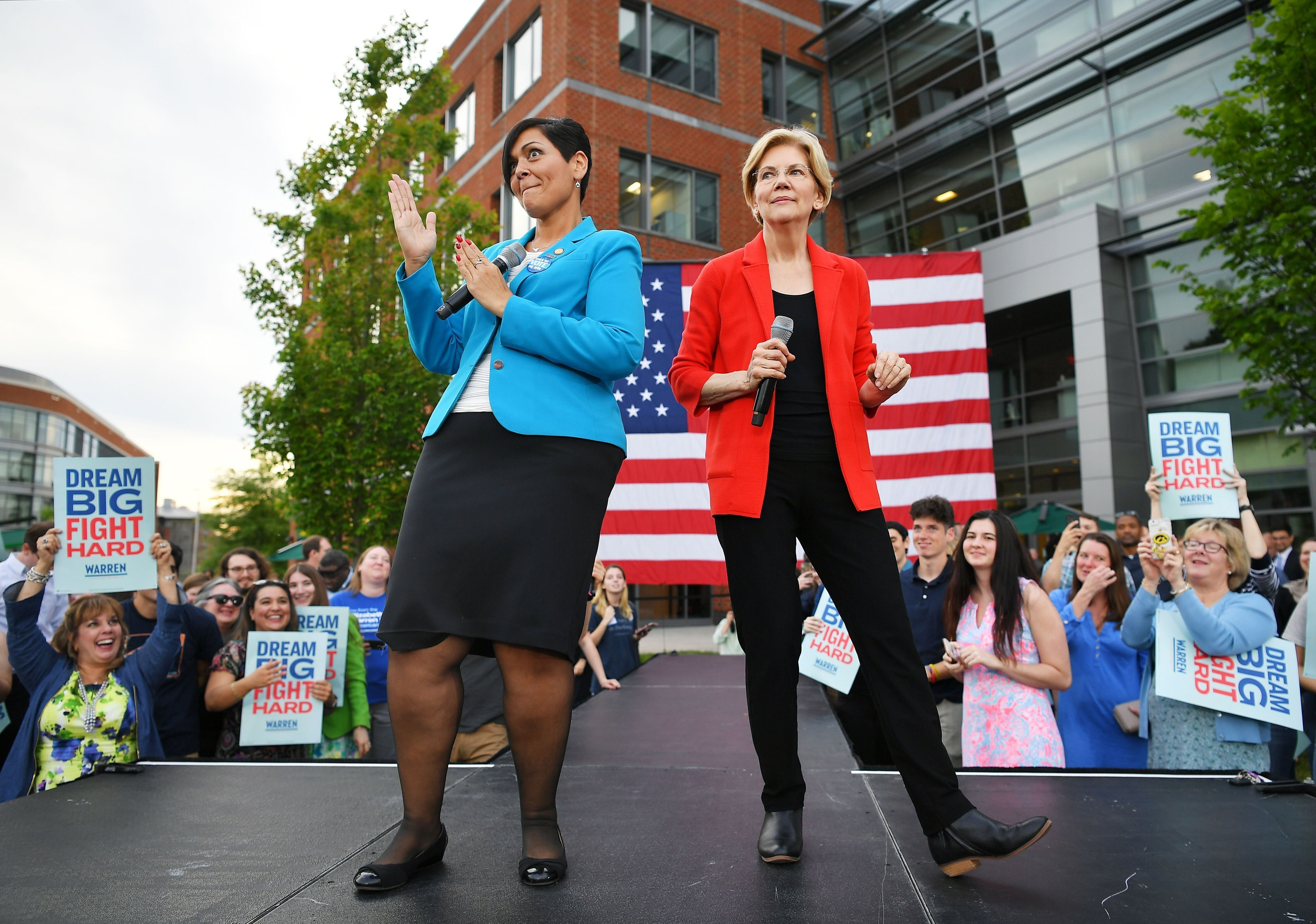 Presidential candidate Elizabeth Warren shares the stage with Virginia Del. Hala Ayala at George Mason University in May. In