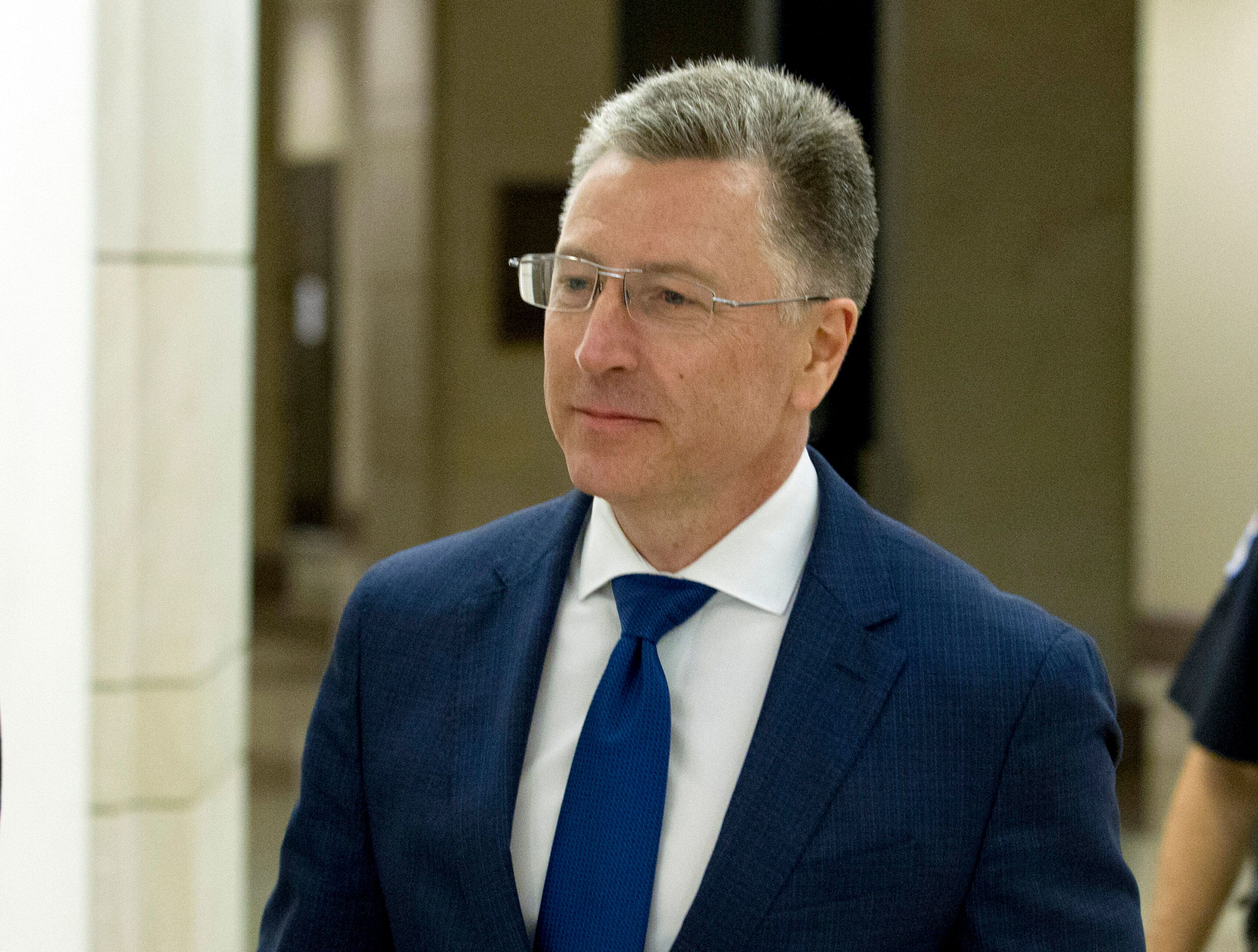 Kurt Volker, a former special envoy to Ukraine, leaves an Oct. 7 closed-door interview with House investigators as House Demo
