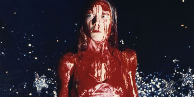 In the musical, Wolfe plays the titular role of Carrie White, made famous by Sissy Spacek in the 1976 film (pictured above), and was dressed as Carrie during the climactic scene – prom dress, tiara and tons of fake blood.