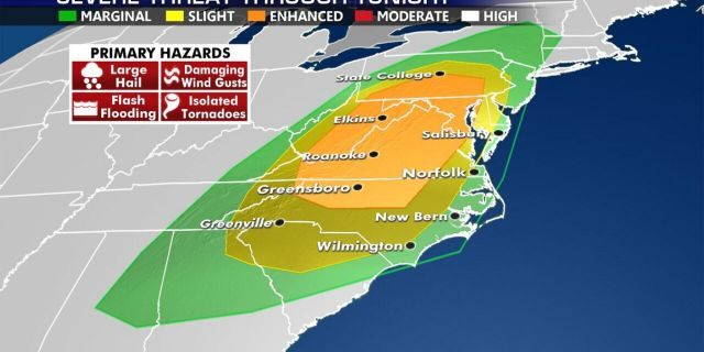 There is an enhanced threat of severe weather across the Mid-Atlantic on Halloween, according to forecasters.