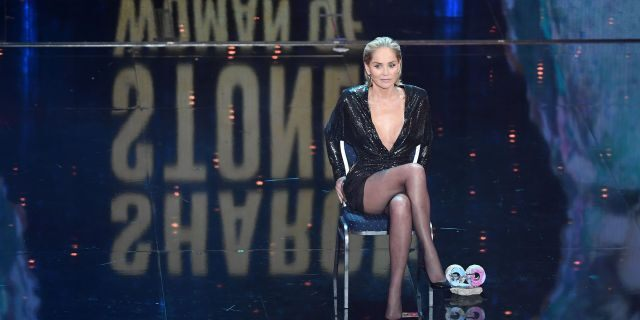 Award winner Sharon Stone speaks on stage during the GQ Men of the Year Award show at Komische Oper on November 07, 2019 in Berlin, Germany.
