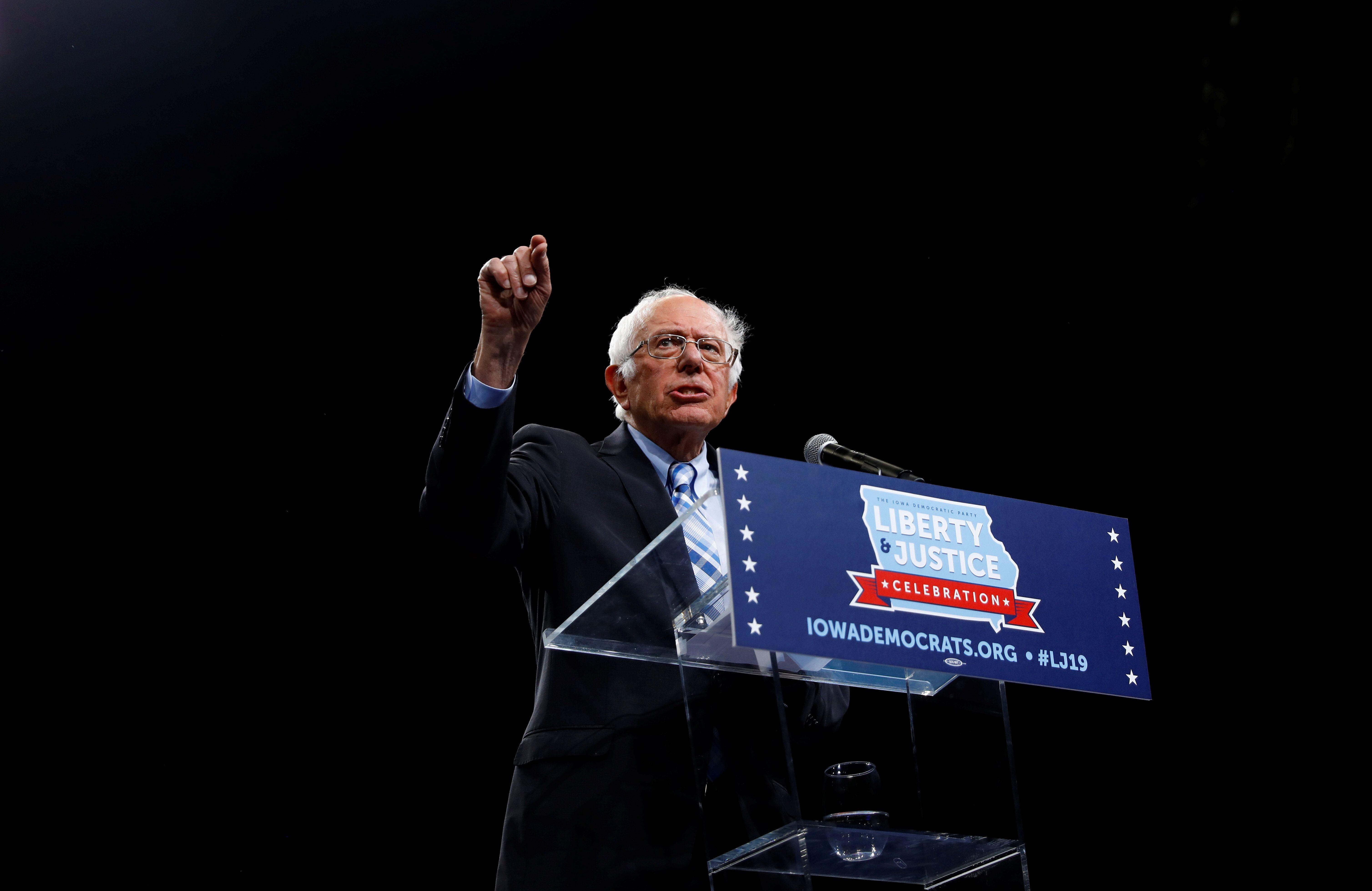 Democratic 2020 U.S. presidential candidate Sen. Bernie Sanders speaks at a Democratic Party fundraising dinner in Des Moines