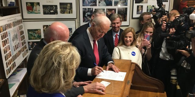 Former Vice President Joe Biden files to place his name on New Hampshire's first-in-the-nation presidential primary, at the Statehouse in Concord, NH on Nov. 8, 2019