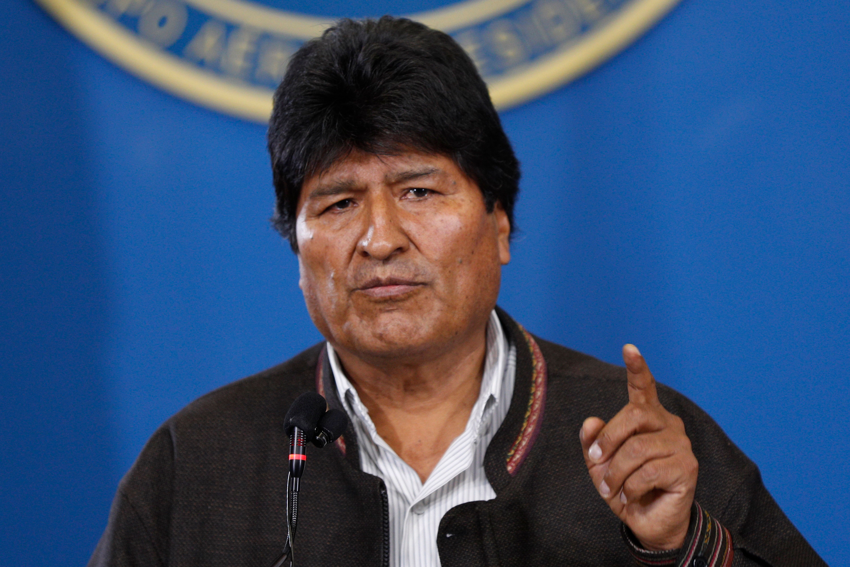 Bolivia's President Evo Morales speaks during a press conference at the military airport in El Alto, Bolivia, Saturday, Nov.