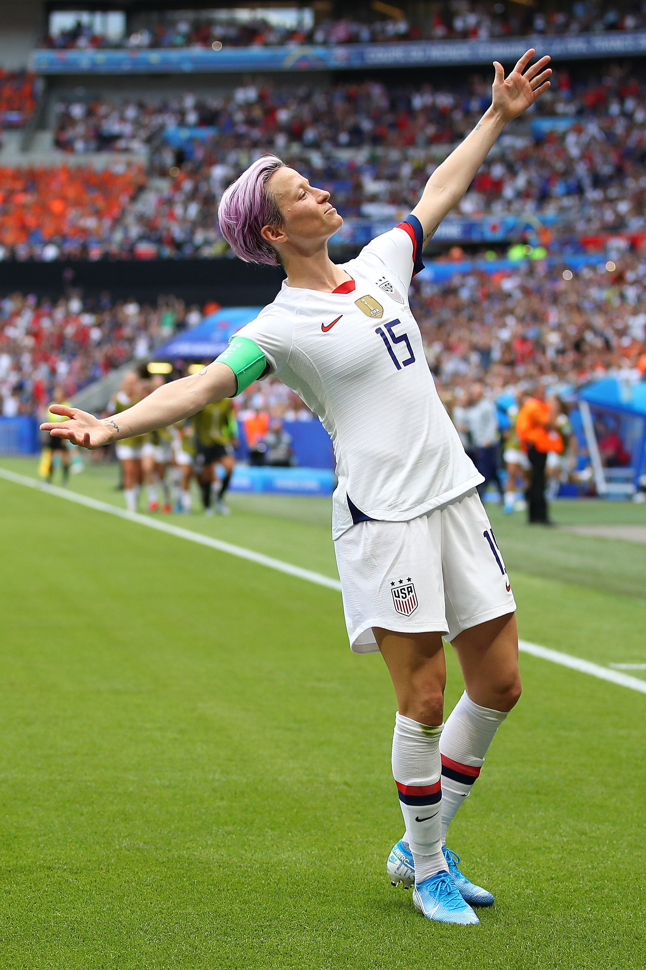Megan Rapinoe celebrates a goal during the 2019 FIFA Women's World Cup final between the U.S. and the Netherlands.