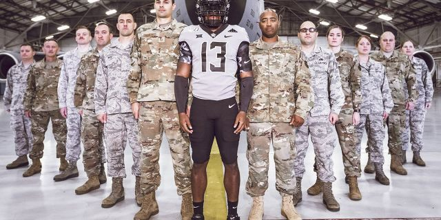 Image Taken at the Oklahoma State University Cowboy Football Military Uniform Unveiling, Wednesday, October 9, 2019, Tinker Air Force Base, Oklahoma City, OK. Bruce Waterfield/OSU Athletics