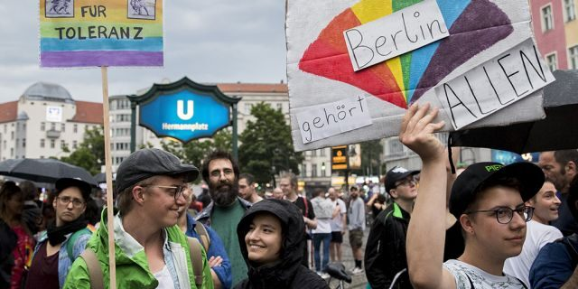People demonstrate against homophobia and transphobia in Berlin Neukoelln, Germany on May 10, 2018. As last of a series of episodes of violence against homosexuals and transexuals, a 53 years old transexual woman was attacked on May 4, on the Sonnealle. (Photo by Emmanuele Contini/NurPhoto via Getty Images)