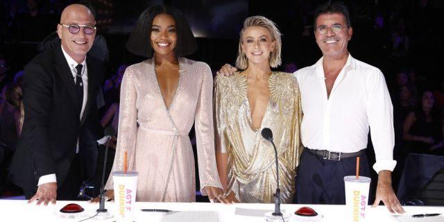 "Pictured: (l-r) ""America's Got Talent"" judges, Howie Mandel, Gabrielle Union, Julianne Hough, Simon Cowell (Photo by: Trae Patton/NBC)"