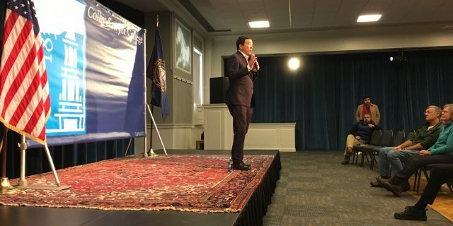 Democratic presidential candidate Andrew Yang holds a town hall at Colby Sawyer College in New London, NH, on Dec. 3, 2019