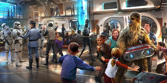 """Artist rendering of the interior of the """"Star Wars: Galactic Starcruiser,"""" set to debut at Disney World in 2021."""