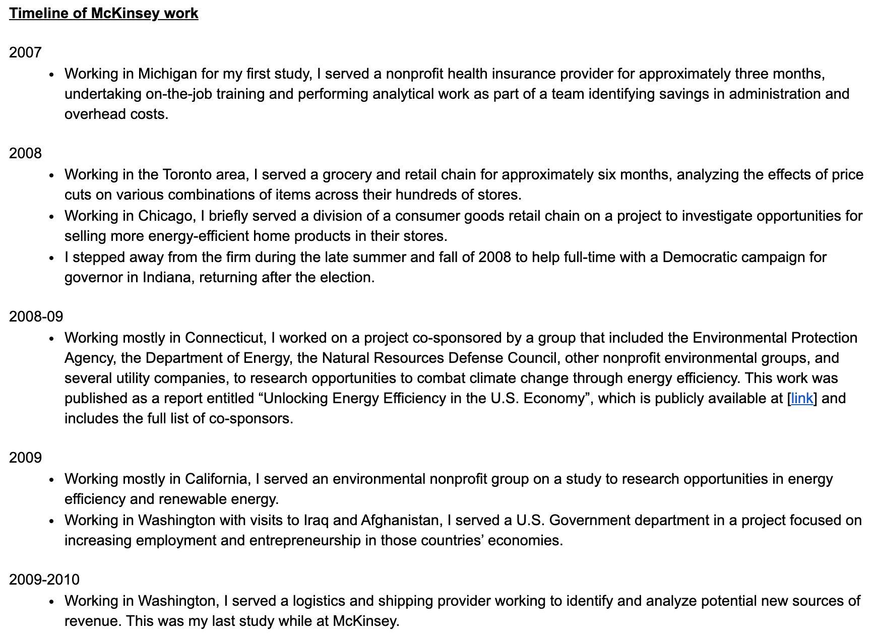 A timeline of Pete Buttigieg's work at McKinsey.