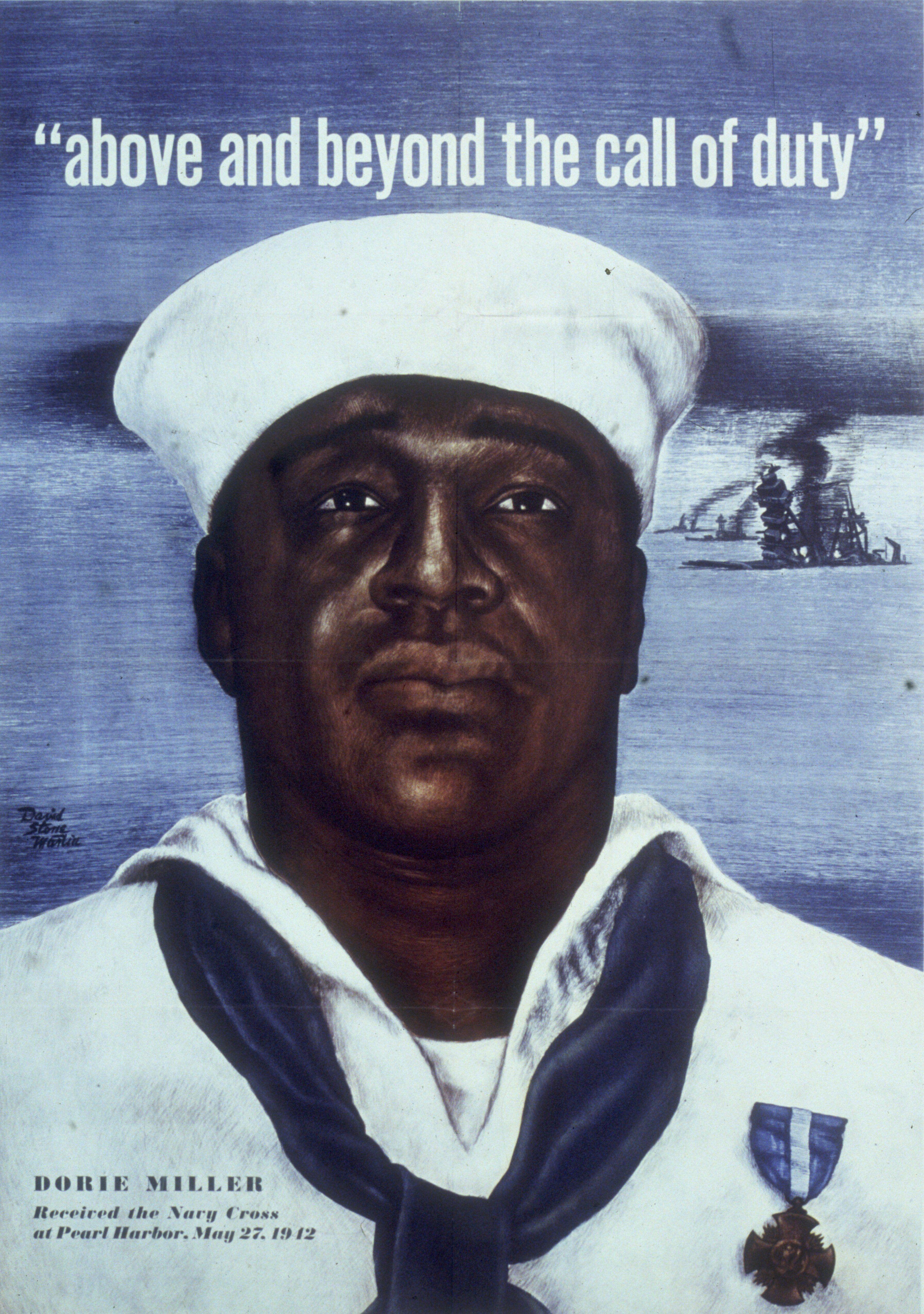 Circa 1942: Headshot portrait of Naval Mess Attendant 3rd Class Doris Miller, wearing a Navy Cross pinned to his sailor's uni