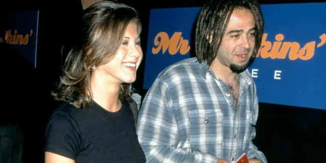 "Jennifer Aniston and American musician Adam Duritz attend the ""Mr. Jenkins Soiree"" at the Ace Gallery Los Angeles on September 29, 1995 in Los Angeles, California."