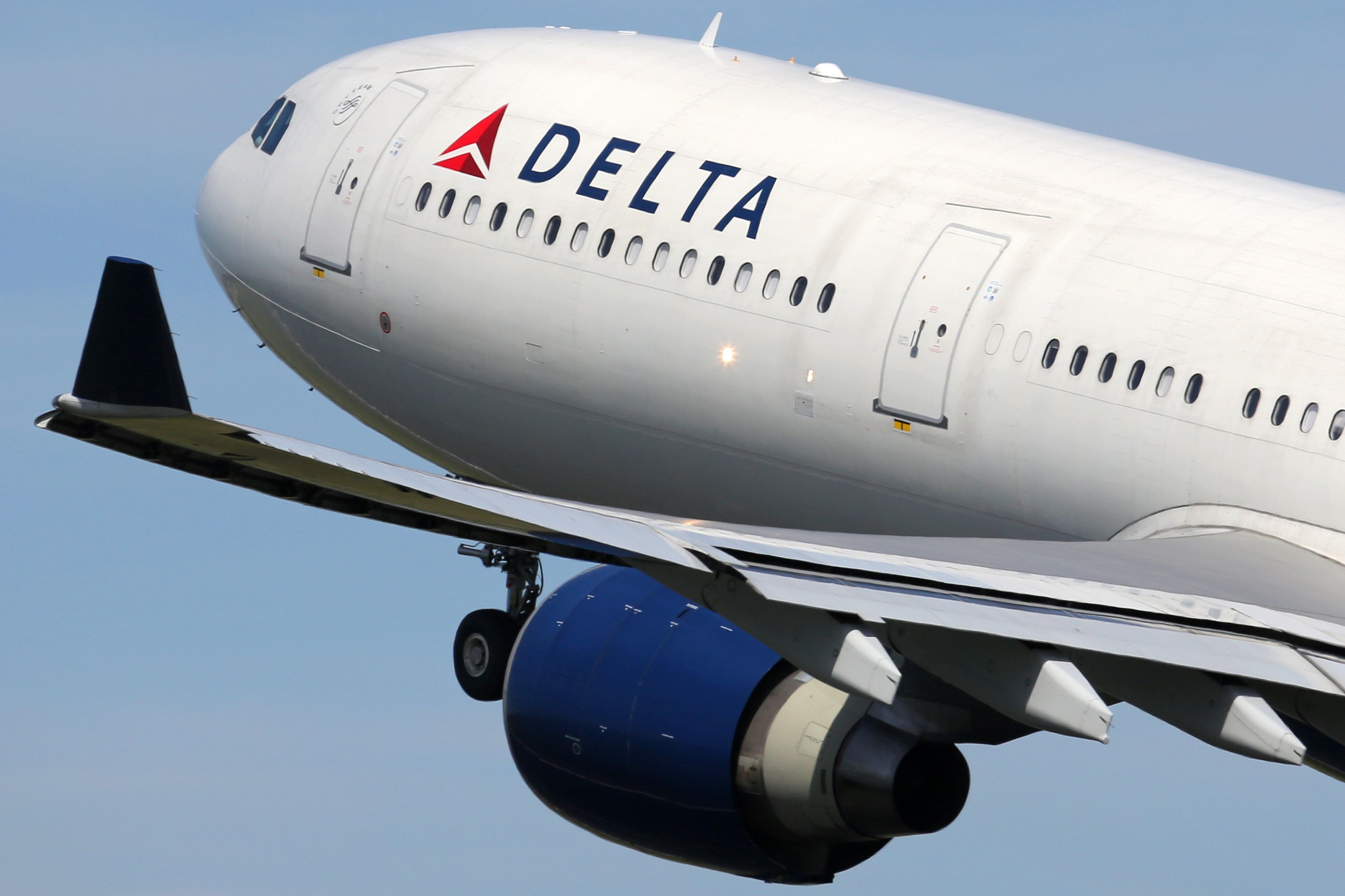 A Delta Air Lines flight takes off from Amsterdam Airport in the Netherlands.